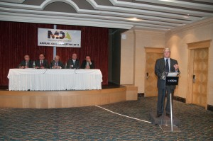 Joe Cutajar of MDA Platinum Sponsor Mediterranean Insurance Brokers delivers an address to the AGM
