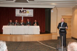 Prime Minister Joseph Muscat giving his address at the MDA AGM