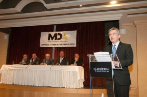 Opposition Leader Simon Busuttil delivers his speech at the MDA AGM