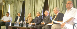 MDA President Sandro Chetcuti (right) during the debate at the Malta Chamber of Commerce, Enterprise and Industry in Valletta