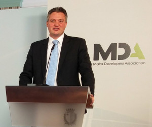 Minister Konrad Mizzi delivering his address